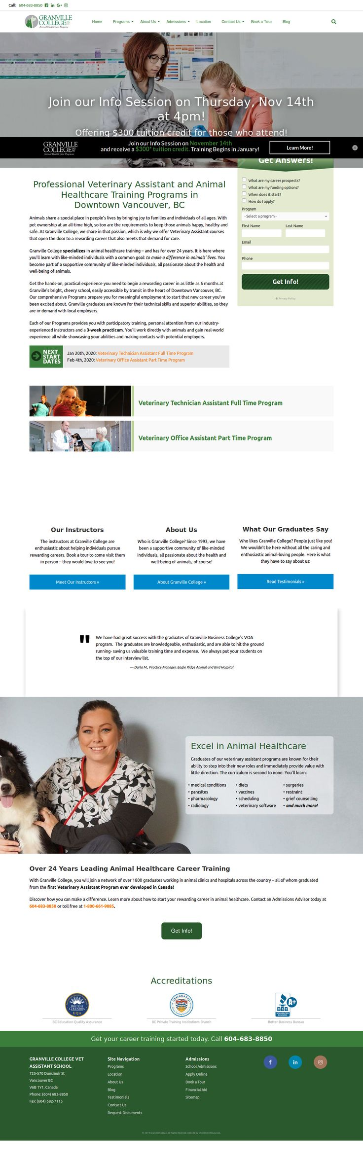 Veterinary Assistant Vancouver BC Healthcare training