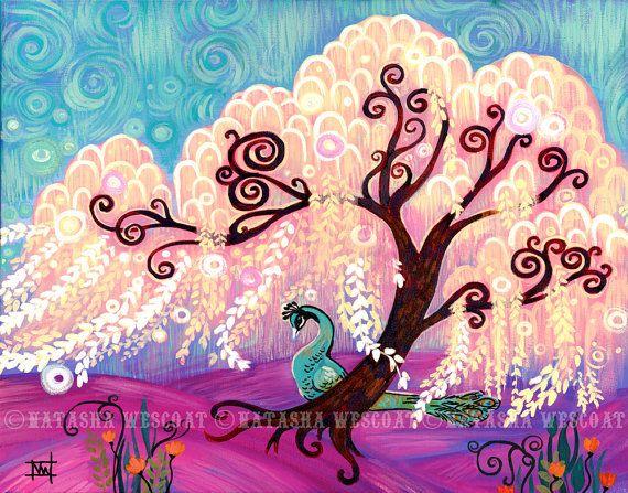 Modern Swirly Willow Tree Art Print 13x19 Peacock by wescoatart, $26.00