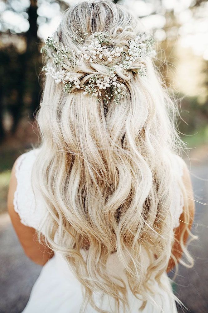 Beach Waves With A Waterfall Braid And Small Flowers Long Hair