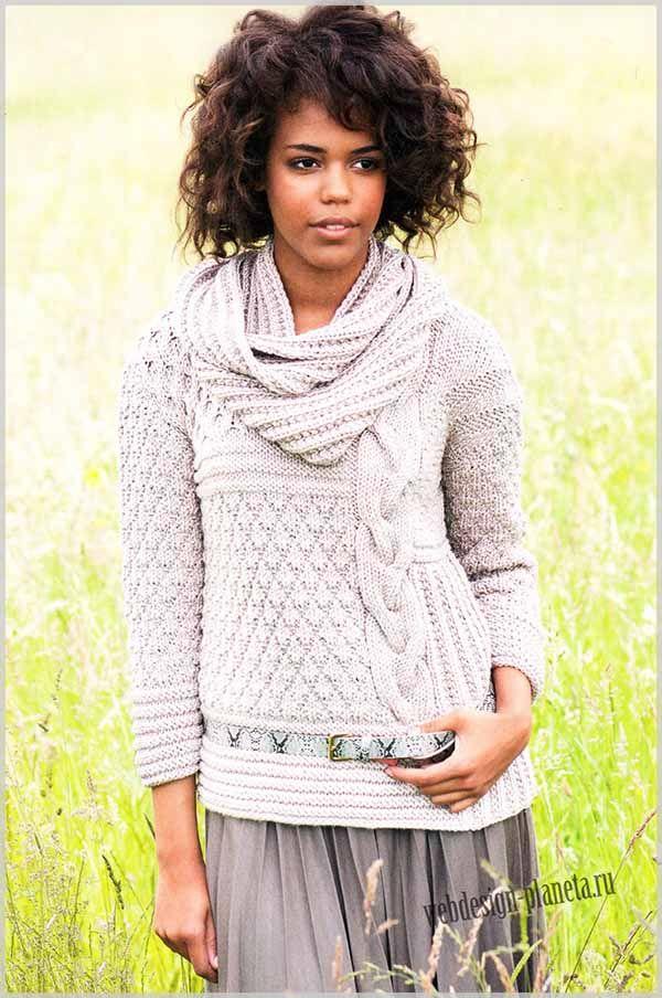 Пуловер и шарф связаны спицами из полушерстяной пряжи песочного цвета различными узорами, что придает им изысканный вид и привлекательность....Размеры пуловера: 36-38 (40-42) 44-46 Европа или 42-44 (46-48) 50-52 Россия..Размеры шарфа: длина по ок...