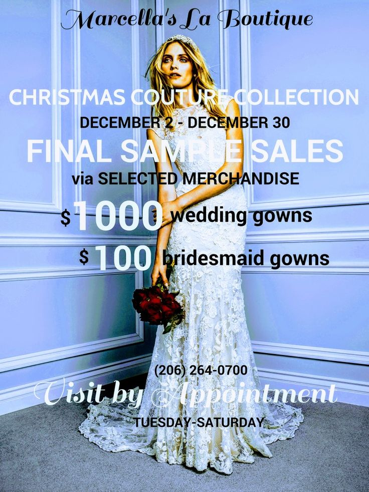 FINAL #Christmas #Holiday #Bridal Sale starting Sat Dec 2 thru Sat Dec 30 for you, newly #engaged  #scintillating #brides, this month. Special #Select've Merchandise Sale of $1000 for #couture #wedding dress & $100 for past #bridesmaid long & short dresses. Meet us by appointment so contact us via: (206) 264-0700 & leave message. Congratulations!  #northwestbridalshowcase #seattlebrides #weddingevent #bridalstyle #weddingdream #weddingcoordinator #lovebridal #ido #bridaldesigner…