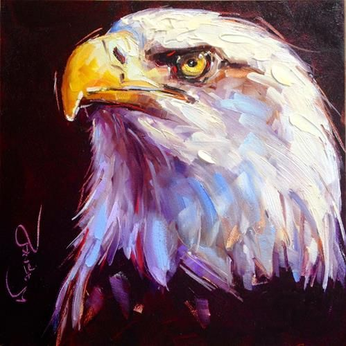 """Daily Paintworks - """"ORIGINAL CONTEMPORARY BALD EAGLE PAINTING by OLGA WAGNER"""" - Original Fine Art for Sale - © Olga Wagner"""