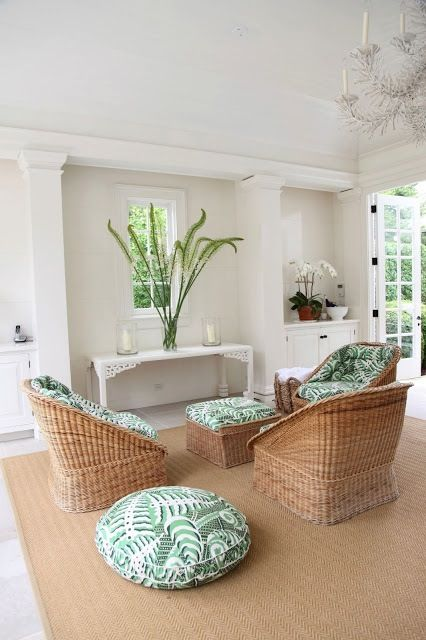 Aerin Lauder   Pool House Interior, Fresh Green And White