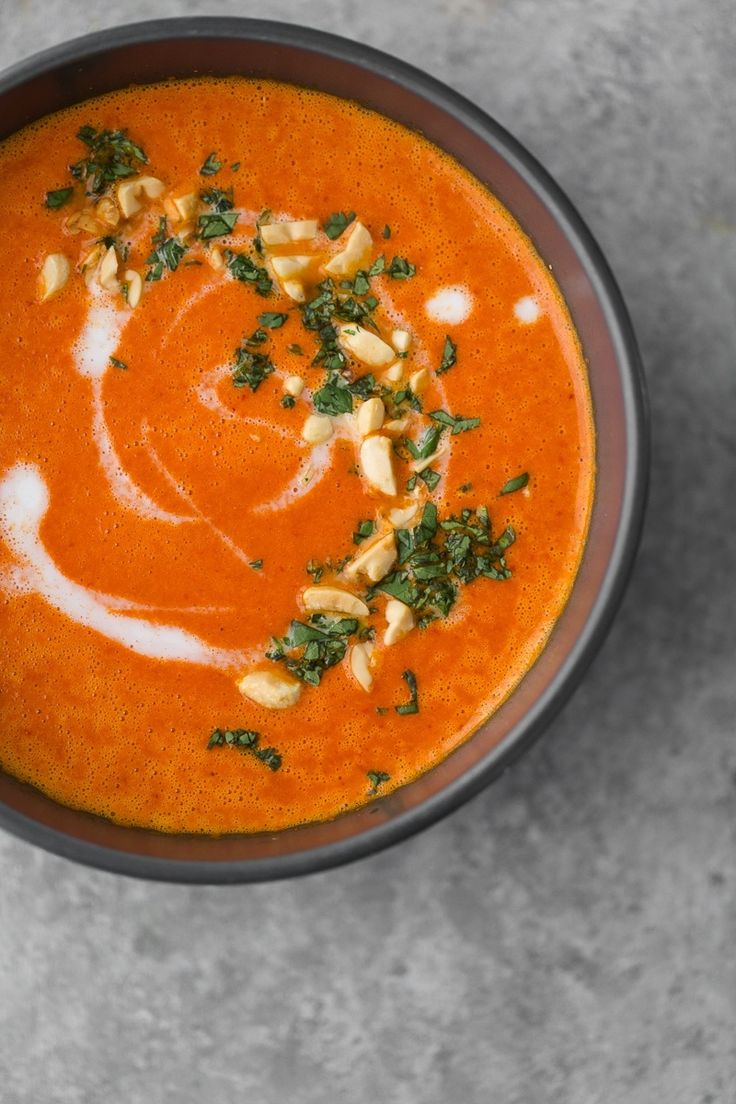 A slightly spicy red pepper soup that has minimal ingredients, comes together quickly, and packs a punch thanks to using a thai red curry paste.