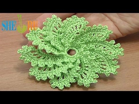▶ How to Crochet Spiral Flower 10 Petals Tutorial 54 Picot Trim - YouTube