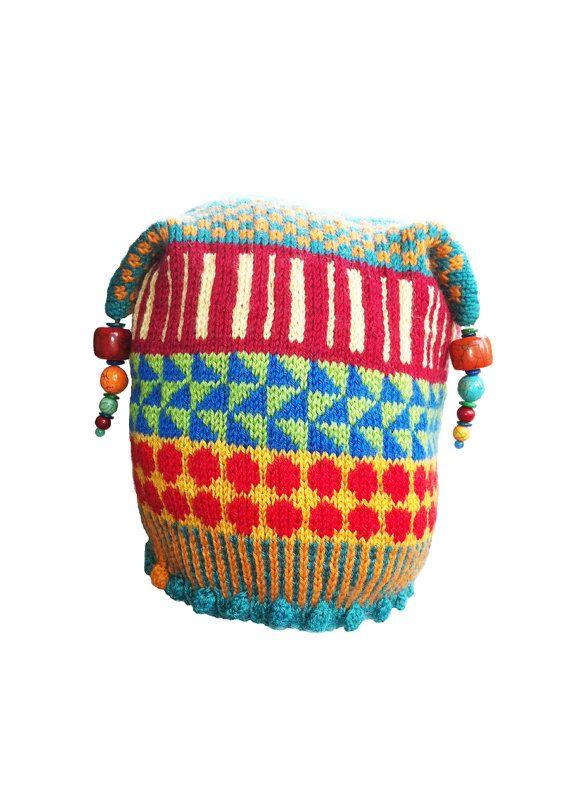 Hand Knit Irish Dingle Hat with an Icelandic flair, Unique Knits, Children-Teen Beanie, Adult Beanie, Unique Handknit Beanie, Wearable Art