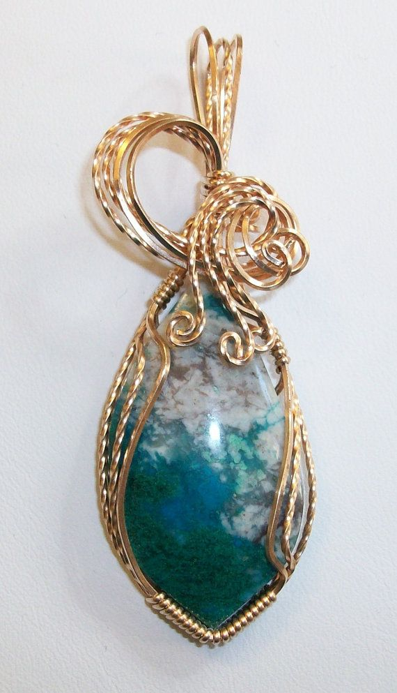 Chrysocolla Wire Sculpted Pendant wrapped in by JoaniesCreations, $59.00