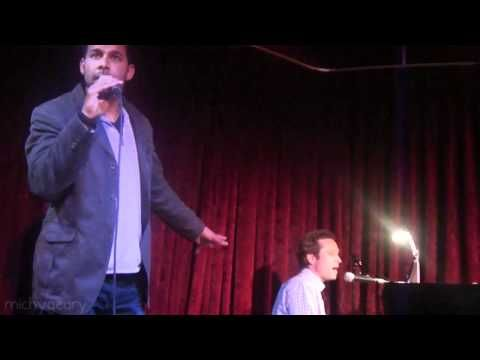 """Seamus Dever and Jon Huertas duet on """"Lately"""" by Stevie Wonder at M Bar's """"The Anti Cabaret Cabaret"""" on May 12, 2012, hosted by Amir Talai."""