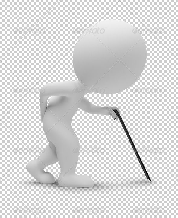 3d small people - trauma by AnatolyM 3d small people  elderly person with a stick. 3d image. Transparent high resolution PNG with shadows.