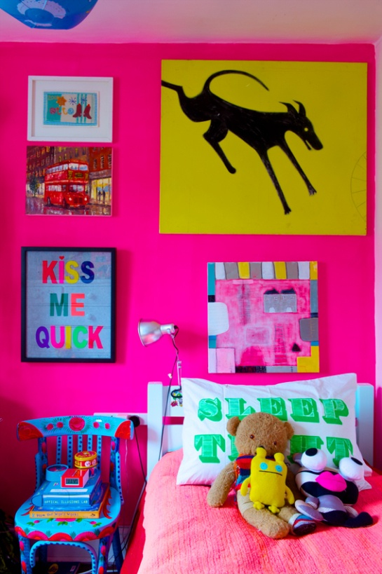 Bristol Paint- Fluorescent Pink, Sam Robinson's eclectic house featured in Easy Living Magazine