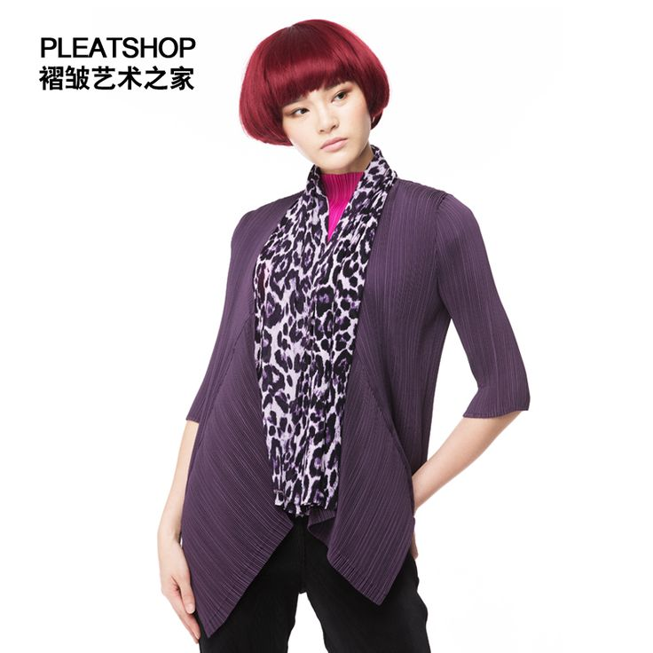 >> Click to Buy <<  pleated leopard print chiffon scarf collar elastic three quarter sleeve ol autumn outerwear women cardigan fold shirt 3D tops #Affiliate
