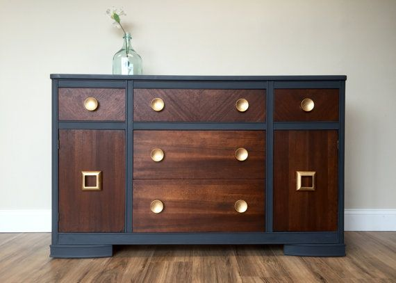 Vintage Sideboard, TV Credenza, Blue Dining Room Buffet, Two Tone Vintage  TV Stand