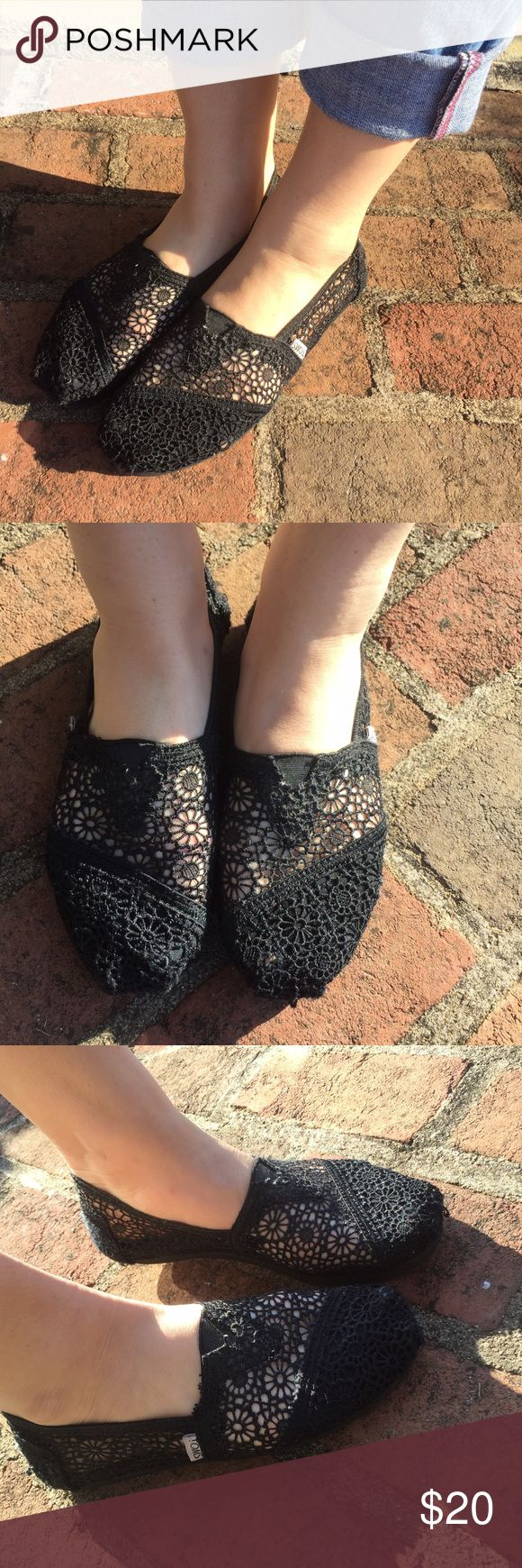 Black Lace Toms They are slightly worn TOMS Shoes Flats & Loafers