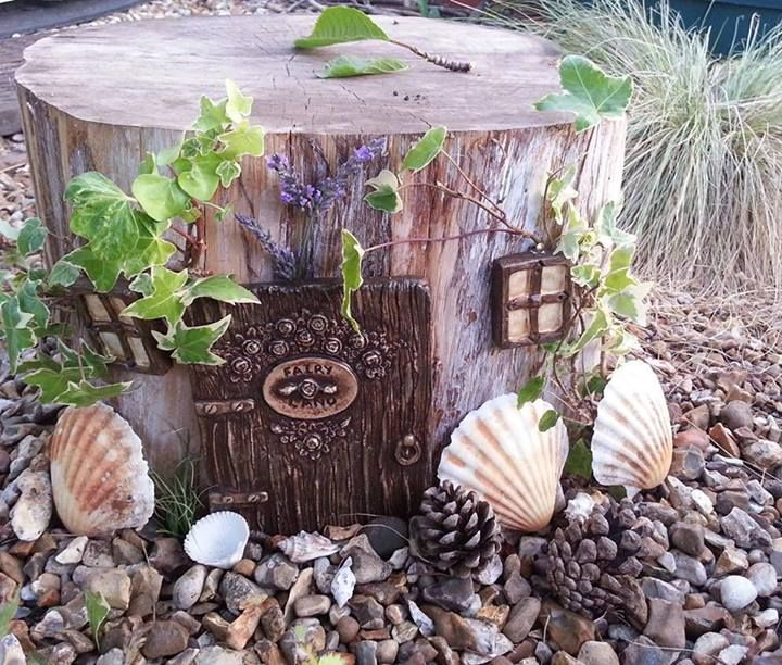 "Love how childminder Helen B has 'adapted' this tree stump... image shared by Niki Willows - Outside ("",)"