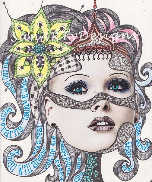 19 best art journal magazine images images on pinterest for Doodle art faces