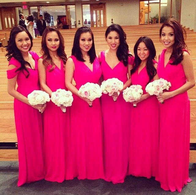 Long fuschia bridesmaids dress