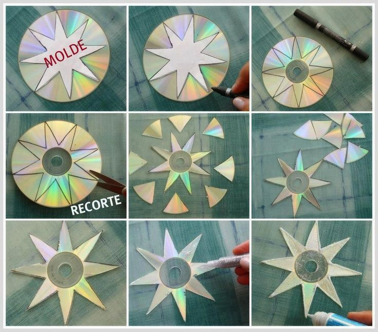 christmas craft old cds   Christmas Stars from Old CD Discs   CD's Crafts