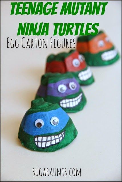 DIY Teenage Mutant Ninja Turtle figures from egg cartons~ Perfect for pretend play with your little TMNT fan! {Sugar Aunts}