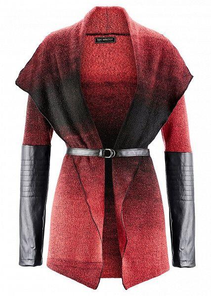 Jachetă tricotată cu imitaţie de piele • 99.9 lei • Bon prix