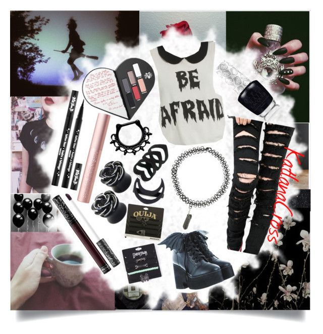 """""""""""Creepy girls you're just my style, blood red lipstick you don't smile. Falling victim to your fantasy. Damn I love it that you're so creepy"""""""" by katlanacross ❤ liked on Polyvore featuring Deborah Lippmann, Dollhouse, Witchery, Iron Fist, Hot Topic and Kat Von D"""