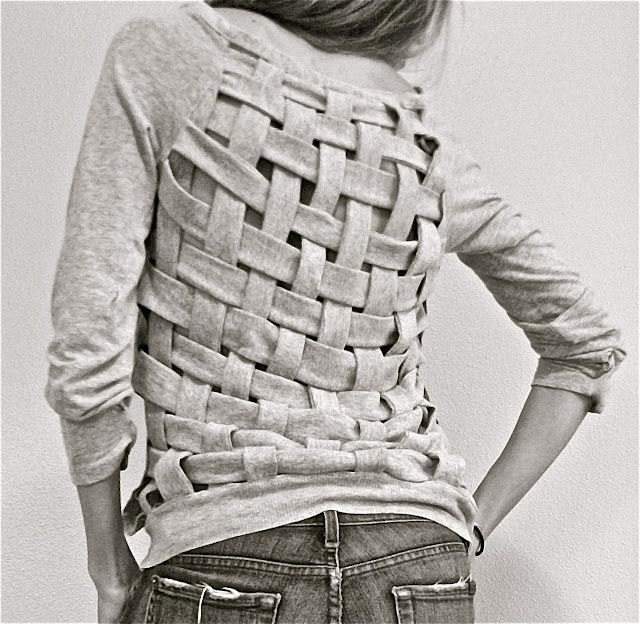DIY weaved shirt, so pretty!