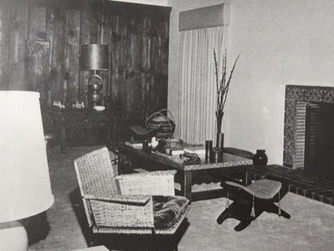 The Spanish Revival home was built in 1929. Marilyn bought it in 1962 for 90,000. The current owners are asking 3.6 million. Here's how the living room looked when she lived there (via LA Times):