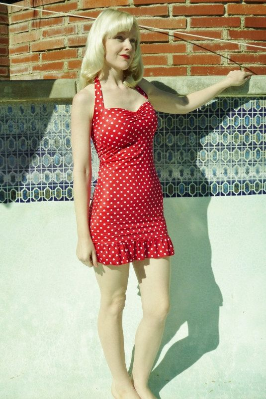 Delightful Vintage Swim Dress Part - 2: Red And White Polka Dot Ruffle Two Piece Swim Dress Retro Pin-up Swimsuit  Made