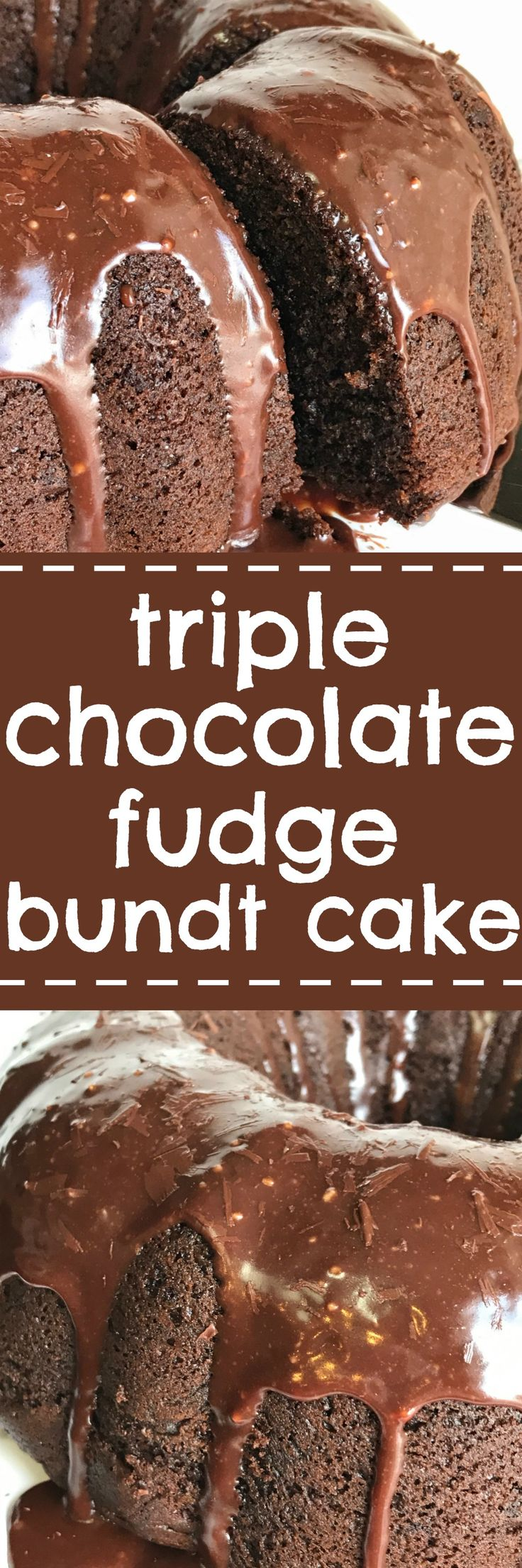 Triple Chocolate Fudge Bundt Cake- you won't believe how easy this triple chocolate fudge bundt cake is to make. Starts with a boxed cake mix that doctored up with chocolate three ways and topped with a milk chocolate ganache glaze. This cake is so moist and loaded with chocolate | togetherasfamily.com
