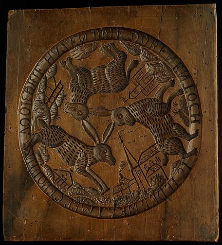 Three Running hares, early to mid-19th century Dutch cookie board