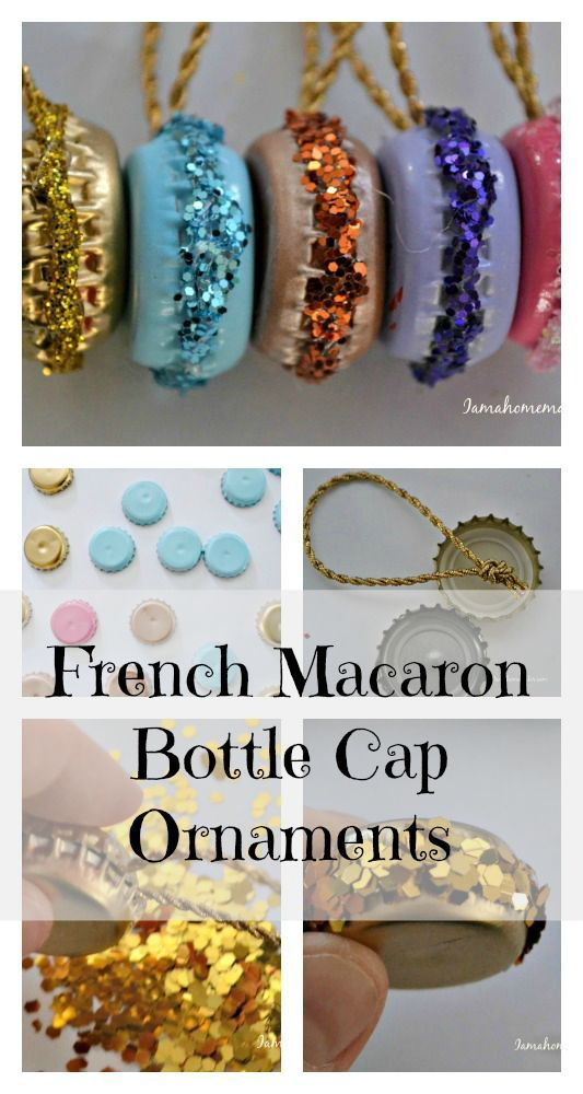 Super fun French macaron bottle cap ornaments. Perfect for a mini tree in your kitchen or dining room.