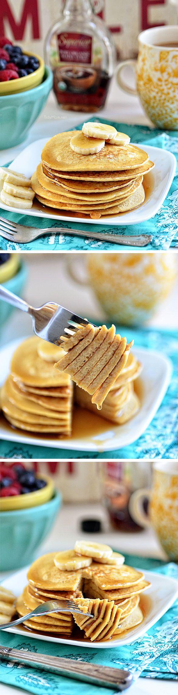 Oatmeal banana bread pancakes! So yummy! Perfect breakfast recipe!