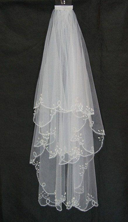 2T White/ivory Elbow veil Tulle Beading Edge Wedding by VEIL8, $45.00