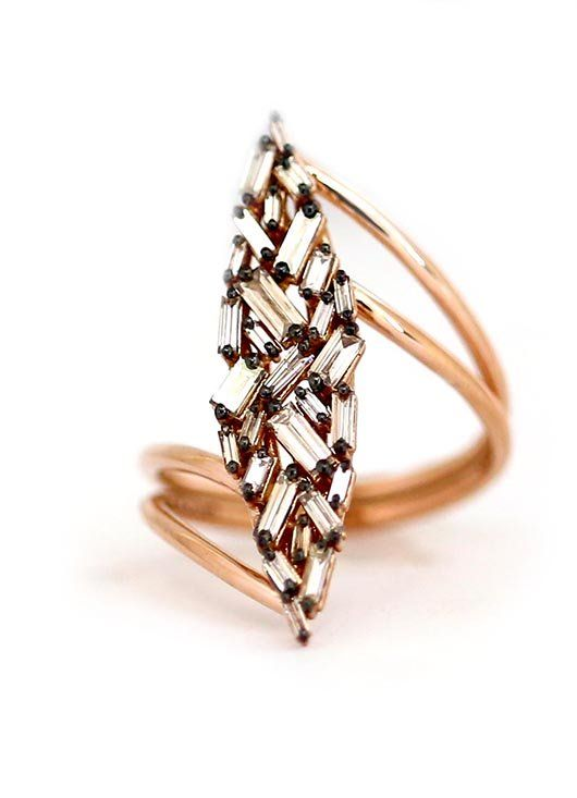 Ring in 18k rose gold with 1 ct. t.w. champagne-color diamond baguettes, $3,200; Suzanne Kalan