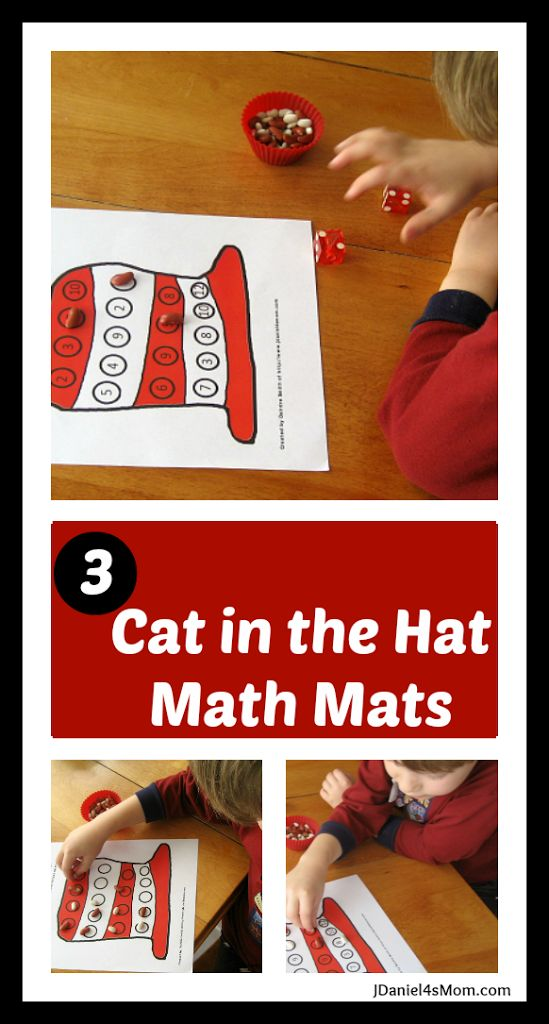 FREE Cat in the Hat Math Activity Mats. Roll and cover games for younger and older kids.