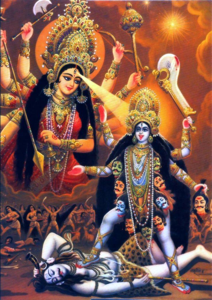 Durga is Creating Kali from Her Third Eye Lightening