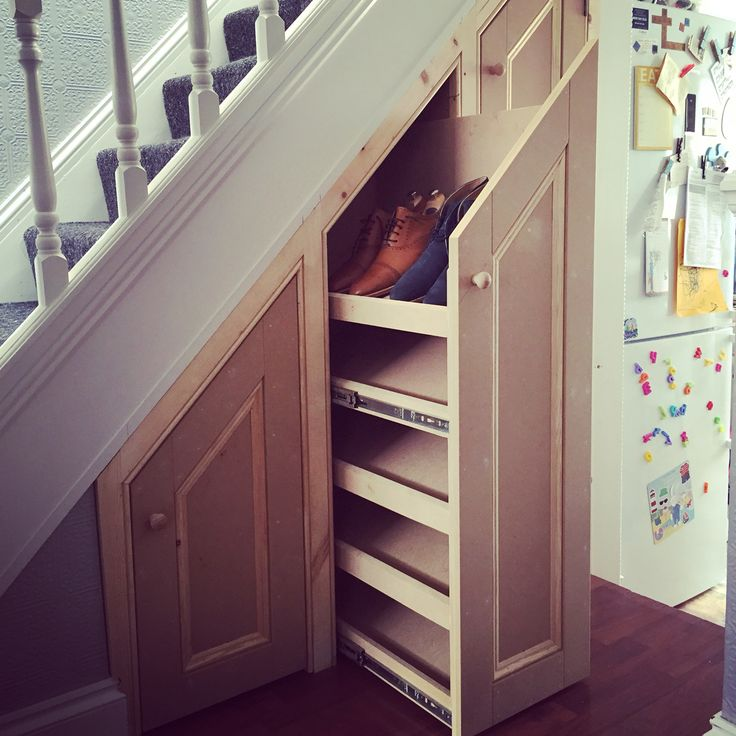 Under stair shore storage.