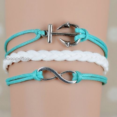 1x Girl Gift Infinity Anchor Charm Pendant White Weave Korean Cashmere Bracelet | eBay