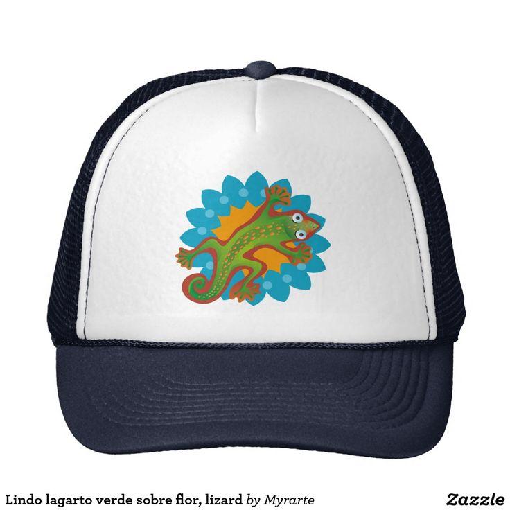 Lindo lagarto verde sobre flor, lizard trucker hat. Producto disponible en tienda Zazzle. Accesorios, moda. Product available in Zazzle store. Fashion Accessories. Regalos, Gifts. Link to product: http://www.zazzle.com/lindo_lagarto_verde_sobre_flor_lizard_trucker_hat-148142216517237389?CMPN=shareicon&lang=en&social=true&view=113076339708907653&rf=238167879144476949 #gorra #hat #lagarto #lizard