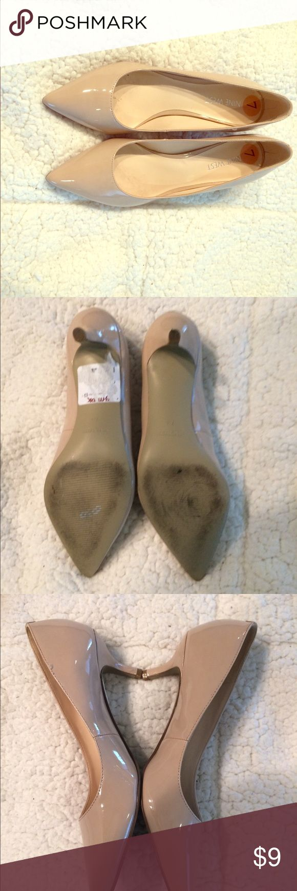 Nine West nude patent leather pumps Worn once for outdoor wedding Shoes Heels