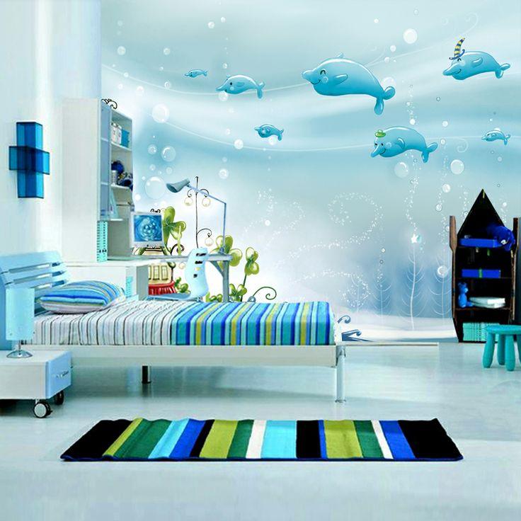 novas 2014 Papel de Parede crianças 3d oceano azul papéis adesivos de parede do desktop moderno brilho de parede decoração da casa para sala de estar em Papéis de parede de Melhorias na casa no AliExpress.com