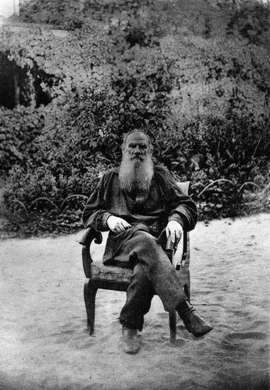 Leo Tolstoy posing for his favourite artist Ilya Repin. Photograph by Sophia Tolstaya, 1887.