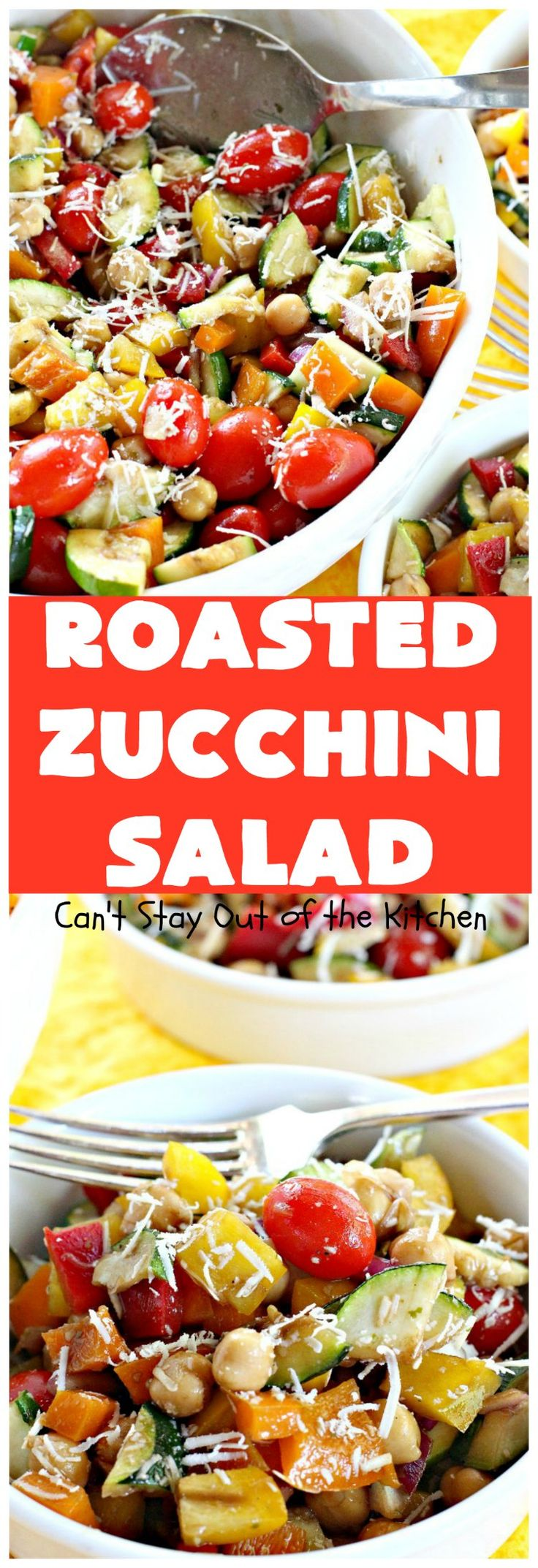 Roasted Zucchini Salad | Can't Stay Out of the Kitchen | this amazing #salad is chocked full of #veggies. It's perfect for potlucks, #BBQs and #LaborDay parties. #glutenfree #zucchini #parmesancheese