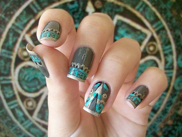 day 16 . TRIBAL nails by gimimimi, via Flickr