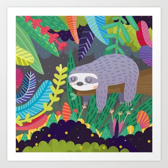 Sloth in nature Art Print by Maria Jose Da Luz. Worldwide shipping available at Society6.com. Just one of millions of high quality products available.