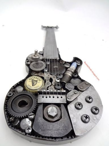 welding art work,  steam punk guitar