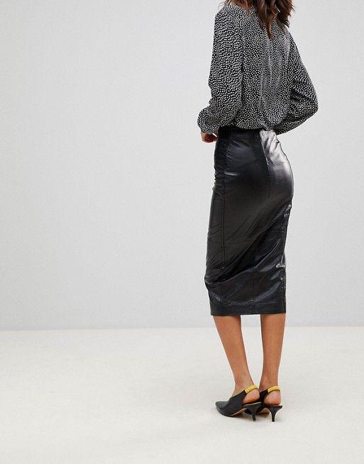 6b166b616 Muubaa Jowette Longline Slit Leather Pencil Skirt   Skirts   Skirts ...
