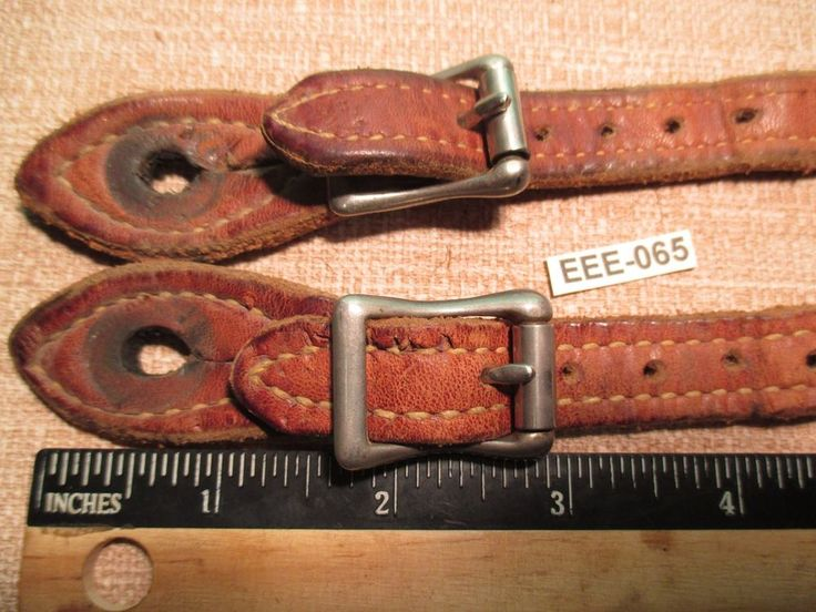 Vintage Double & Stitched Brown Leather Cowboy Western Spur Straps MAKE OFFER