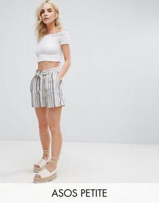 ASOS PETITE Belted Linen Short in Stripe