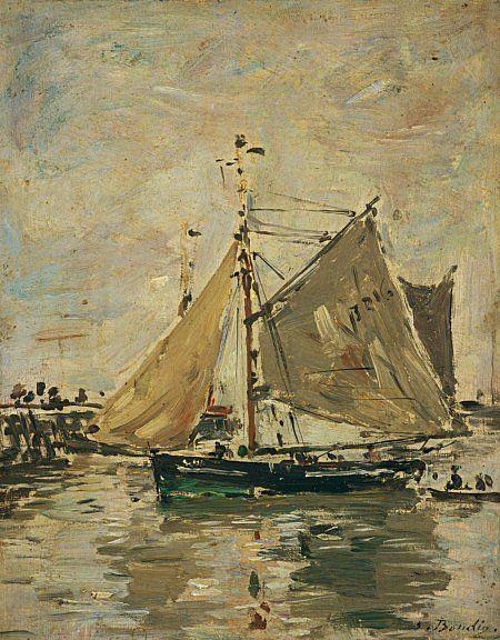 Boudin, Eugene, (1824-1898), A Fishing Boat, Trouville, 1896, Oil