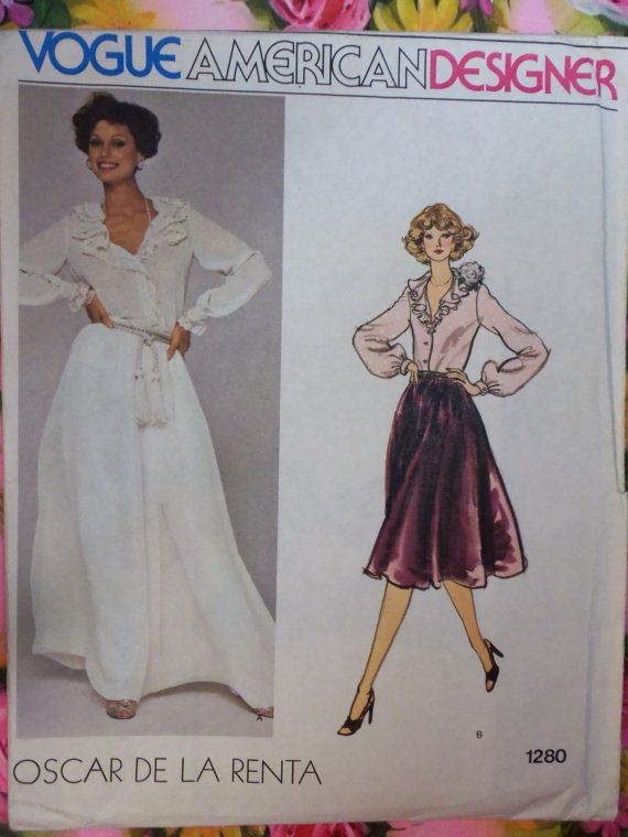 Like this blouse in drawing, but the actual blouse is too flat. Possibly fabric, possibly design. Blouse looks like's it's just hanging there. This is an original Vogue American Designer Pattern No. 1280 from the 1970s.    It is in original factory folds and has size 12 with a 34 bust, 26 1/2 waist and 36 hip.    It is complete, uncut and printed. The envelope is in good condition as you can see.    The woven label is